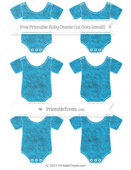 Free Deep Sky Blue Chalk Style Small Baby Onesie Cut Outs