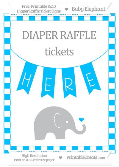 Free Deep Sky Blue Checker Pattern Baby Elephant 8x10 Diaper Raffle Ticket Sign