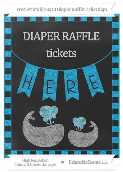 Free Deep Sky Blue Checker Pattern Chalk Style Baby Whale 8x10 Diaper Raffle Ticket Sign