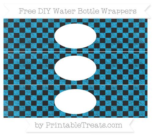 Free Deep Sky Blue Checker Pattern Chalk Style DIY Water Bottle Wrappers