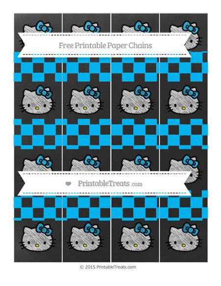 Free Deep Sky Blue Checker Pattern Chalk Style Hello Kitty Paper Chains