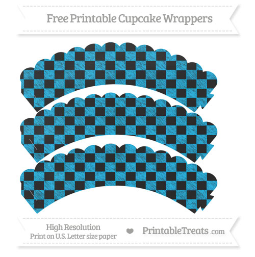 Free Deep Sky Blue Checker Pattern Chalk Style Scalloped Cupcake Wrappers