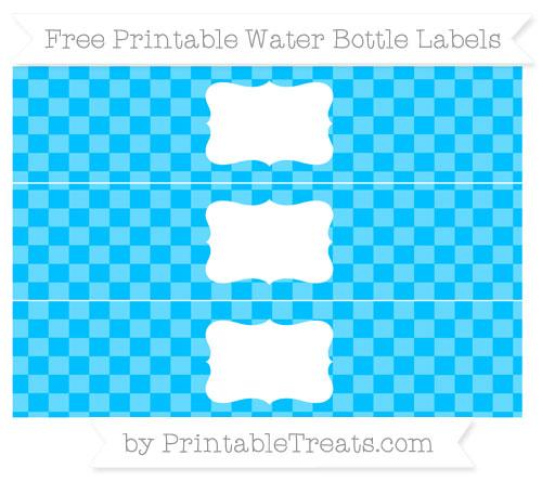 Free Deep Sky Blue Checker Pattern Water Bottle Labels