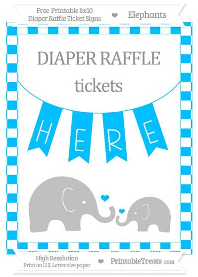 Free Deep Sky Blue Checker Pattern Elephant 8x10 Diaper Raffle Ticket Sign