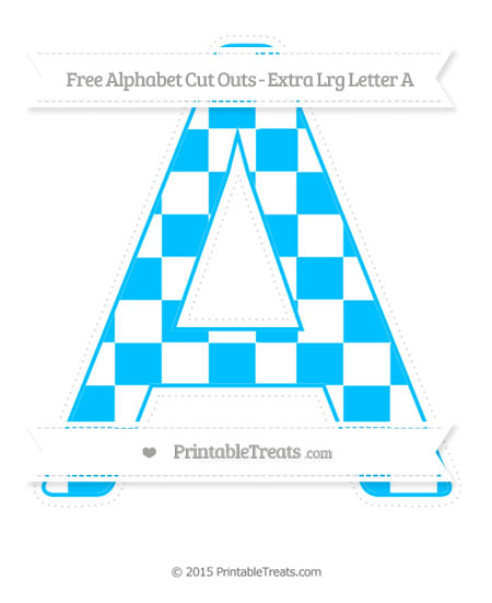 Free Deep Sky Blue Checker Pattern Extra Large Capital Letter A Cut Outs