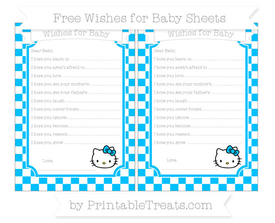 Free Deep Sky Blue Checker Pattern Hello Kitty Wishes for Baby Sheets