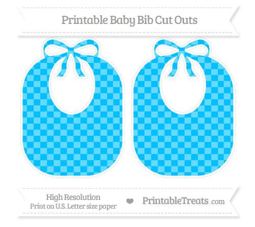 Free Deep Sky Blue Checker Pattern Large Baby Bib Cut Outs