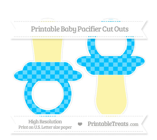 Free Deep Sky Blue Checker Pattern Large Baby Pacifier Cut Outs