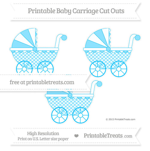 Free Deep Sky Blue Checker Pattern Medium Baby Carriage Cut Outs