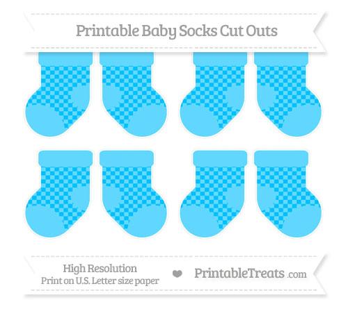 Free Deep Sky Blue Checker Pattern Small Baby Socks Cut Outs