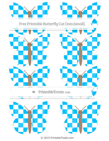 Free Deep Sky Blue Checker Pattern Small Butterfly Cut Outs