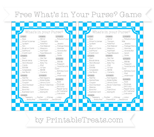 Free Deep Sky Blue Checker Pattern What's in Your Purse Baby Shower Game