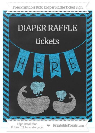 Free Deep Sky Blue Chevron Chalk Style Baby Whale 8x10 Diaper Raffle Ticket Sign