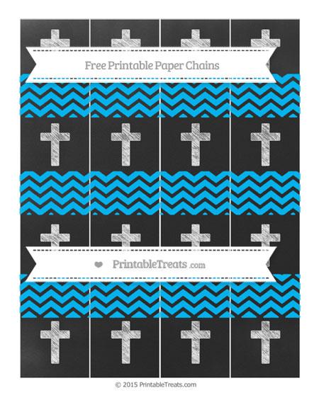 Free Deep Sky Blue Chevron Chalk Style Cross Paper Chains