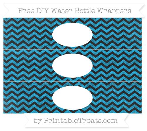 Free Deep Sky Blue Chevron Chalk Style DIY Water Bottle Wrappers