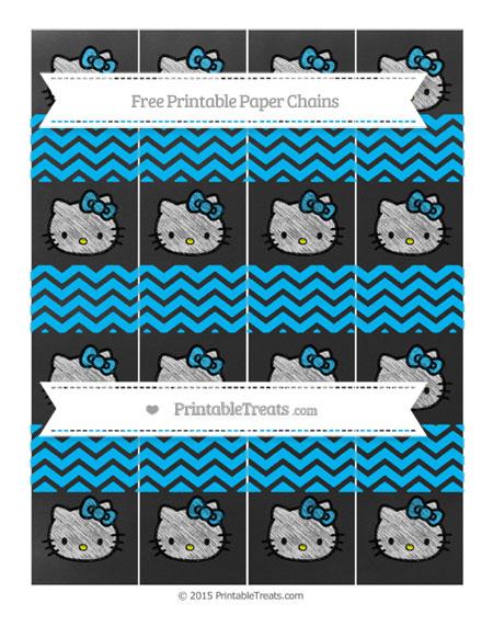 Free Deep Sky Blue Chevron Chalk Style Hello Kitty Paper Chains