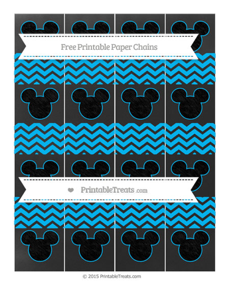Free Deep Sky Blue Chevron Chalk Style Mickey Mouse Paper Chains
