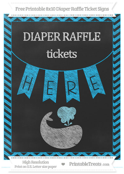 Free Deep Sky Blue Chevron Chalk Style Whale 8x10 Diaper Raffle Ticket Sign