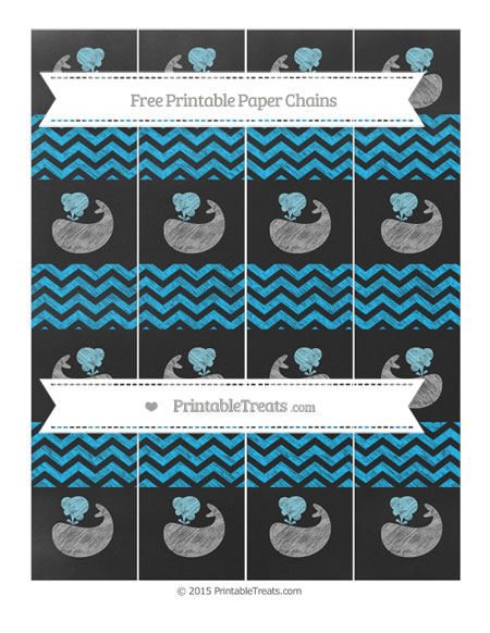 Free Deep Sky Blue Chevron Chalk Style Whale Paper Chains
