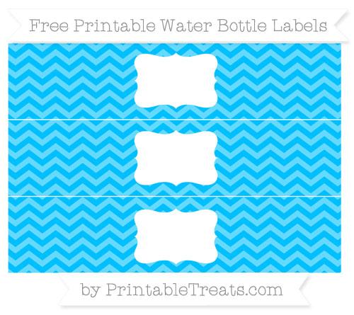 Free Deep Sky Blue Chevron Water Bottle Labels
