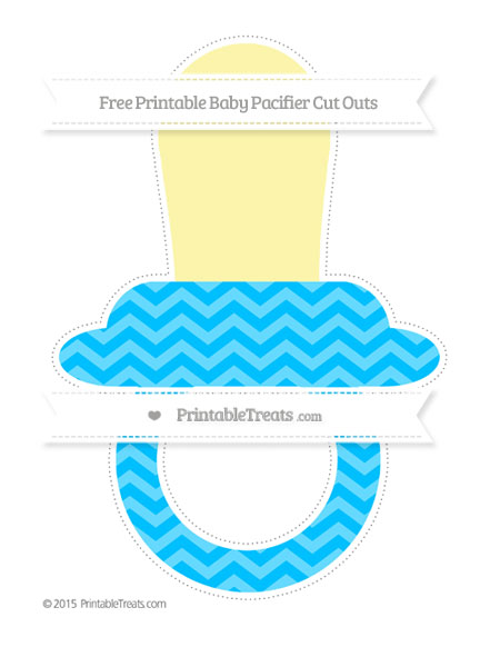 Free Deep Sky Blue Chevron Extra Large Baby Pacifier Cut Outs