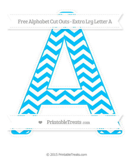 Free Deep Sky Blue Chevron Extra Large Capital Letter A Cut Outs