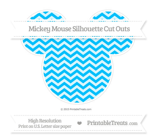 Free Deep Sky Blue Chevron Extra Large Mickey Mouse Silhouette Cut Outs