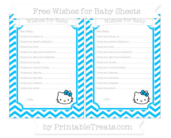 Free Deep Sky Blue Chevron Hello Kitty Wishes for Baby Sheets