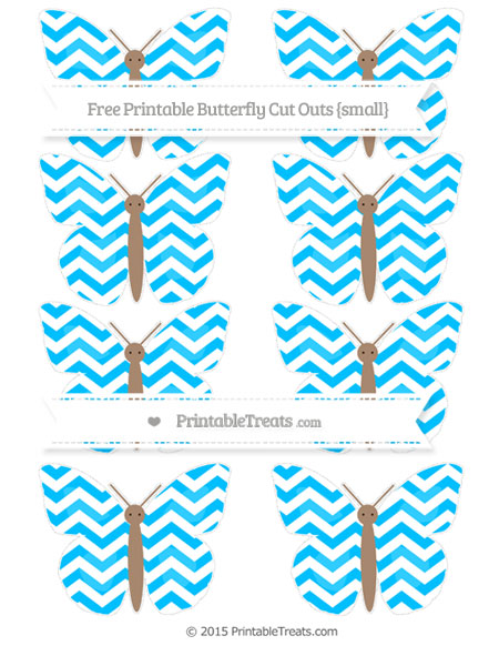 Free Deep Sky Blue Chevron Small Butterfly Cut Outs