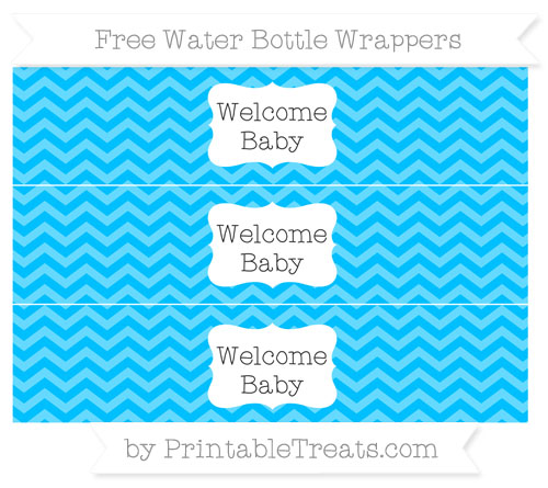 Free Deep Sky Blue Chevron Welcome Baby Water Bottle Wrappers