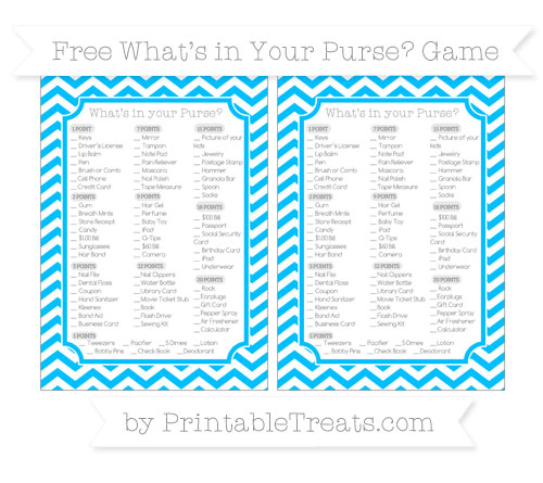 Free Deep Sky Blue Chevron What's in Your Purse Baby Shower Game