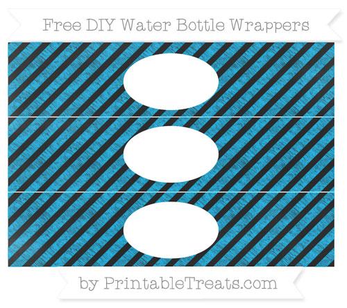 Free Deep Sky Blue Diagonal Striped Chalk Style DIY Water Bottle Wrappers