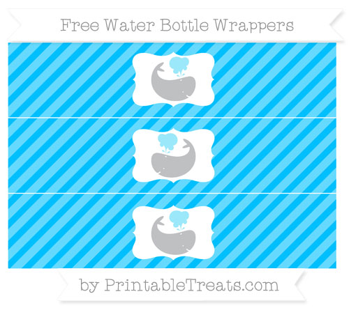 Free Deep Sky Blue Diagonal Striped Whale Water Bottle Wrappers