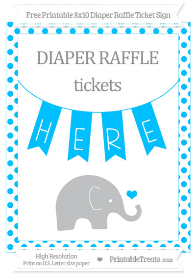 Free Deep Sky Blue Dotted Baby Elephant 8x10 Diaper Raffle Ticket Sign