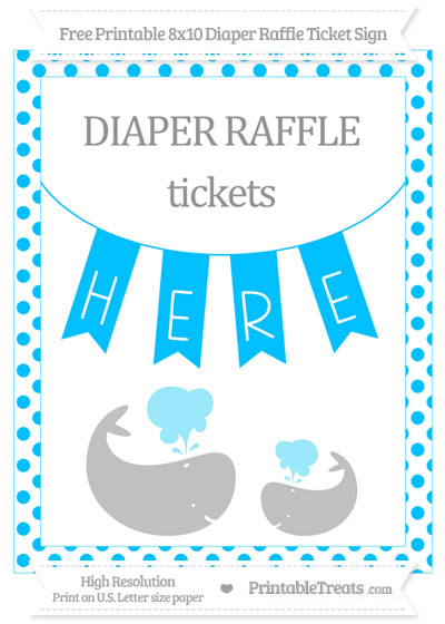 Free Deep Sky Blue Dotted Baby Whale 8x10 Diaper Raffle Ticket Sign