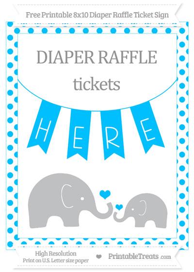 Free Deep Sky Blue Dotted Elephant 8x10 Diaper Raffle Ticket Sign