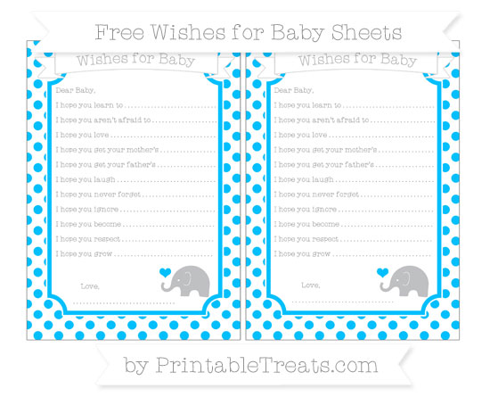 Free Deep Sky Blue Dotted Pattern Baby Elephant Wishes for Baby Sheets