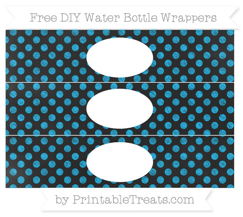 Free Deep Sky Blue Dotted Pattern Chalk Style DIY Water Bottle Wrappers