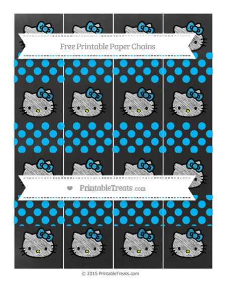 Free Deep Sky Blue Dotted Pattern Chalk Style Hello Kitty Paper Chains