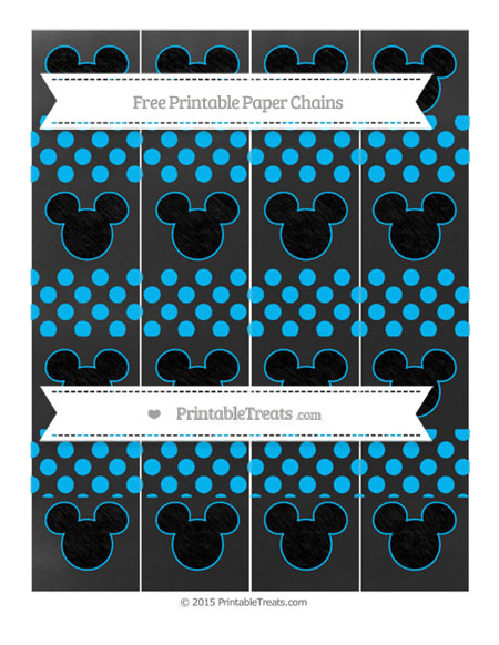 Free Deep Sky Blue Dotted Pattern Chalk Style Mickey Mouse Paper Chains