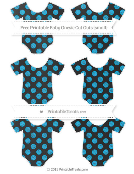 Free Deep Sky Blue Dotted Pattern Chalk Style Small Baby Onesie Cut Outs
