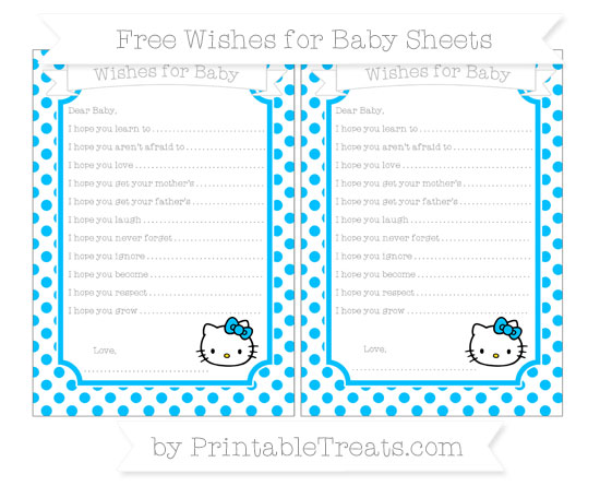 Free Deep Sky Blue Dotted Pattern Hello Kitty Wishes for Baby Sheets
