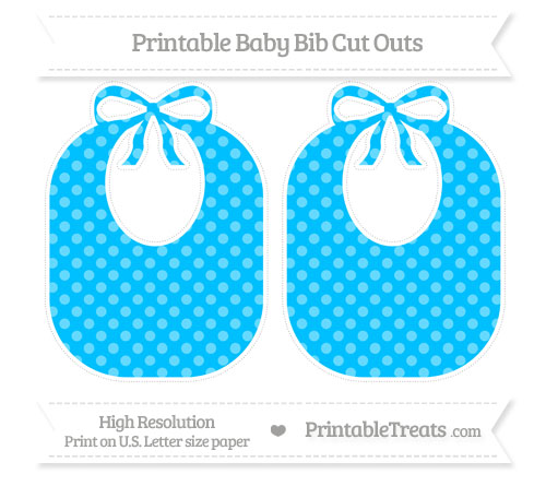 Free Deep Sky Blue Dotted Pattern Large Baby Bib Cut Outs