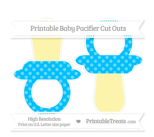 Free Deep Sky Blue Dotted Pattern Large Baby Pacifier Cut Outs