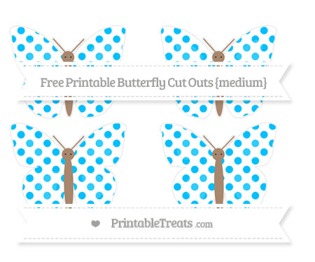 Free Deep Sky Blue Dotted Pattern Medium Butterfly Cut Outs