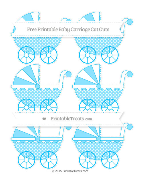 Free Deep Sky Blue Dotted Pattern Small Baby Carriage Cut Outs