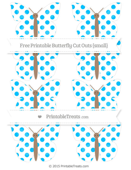 Free Deep Sky Blue Dotted Pattern Small Butterfly Cut Outs