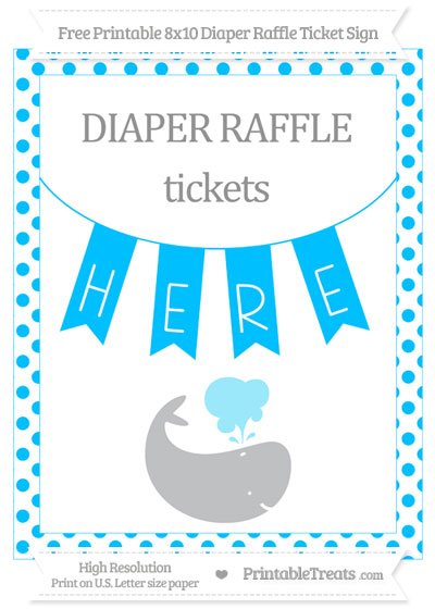 Free Deep Sky Blue Dotted Whale 8x10 Diaper Raffle Ticket Sign