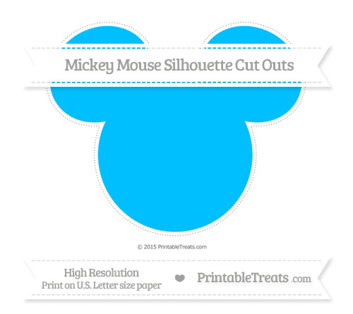 Free Deep Sky Blue Extra Large Mickey Mouse Silhouette Cut Outs