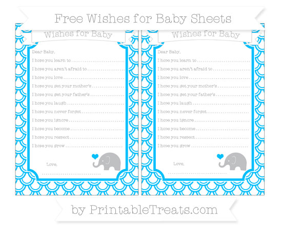 Free Deep Sky Blue Fish Scale Pattern Baby Elephant Wishes for Baby Sheets